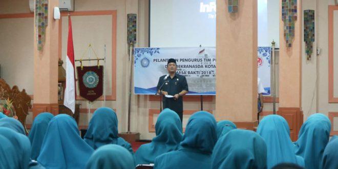 Wali Kota Cirebon Drs H Nasrudin Azis melantikan pengurus Tim Penggerak PKK dan Dekranasda Kota Cirebon masa bakti 2018-2023, Rabu, 13 Maret 2019. Foto mahmud