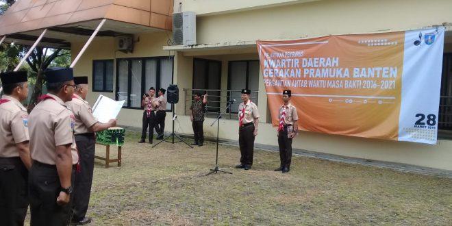 Kwartir Daerah (Kwarda) Gerakan Pramuka Provinsi Banten melantik pengurus pengurus pergantian antar waktu (PAW) periode 2016 - 2021 di Lapangan Gedung Pramuka Kwarda Banten (28/3).